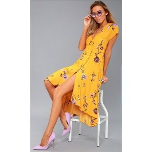 Free People Lost in You Golden Yellow Floral Dress